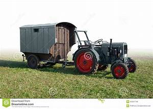 Historic Tractor With Trailer Stock Photo