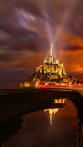 Mont, Saint, Michel, 4k, Wallpaper, France, Cathedral, Monastery, Church, Night, Time, Light, Streaks