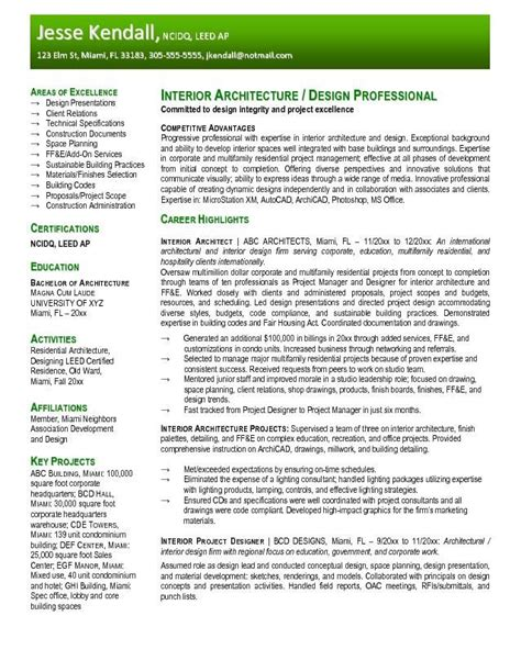Resume For Interior Design by Free Interior Design Resume Templates Resume Sles Architecture Resume Exles Interior