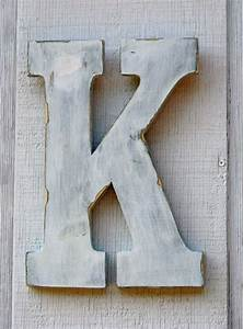 rustic wooden letters k distressed painted white12quot tall With distressed letters