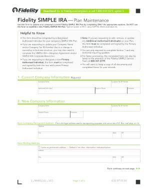 fidelity simple ira forms fidelity simple ira plan maintenance fidelity