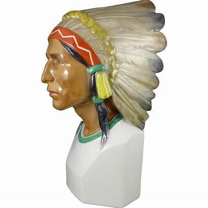 Headdress Native American Germany Bust Rubylane Porcelain