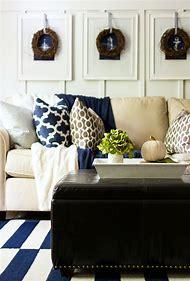 Navy Blue and White Living Room Decor