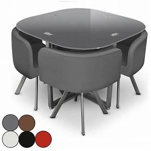 Table Avec Chaise Encastrable : chaises pour table ronde en verre ~ Teatrodelosmanantiales.com Idées de Décoration