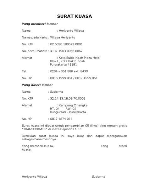 contoh surat kuasa refund tiket contoh