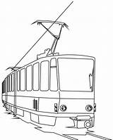Coloring Train Electric Tramway Trains Template Colorluna sketch template