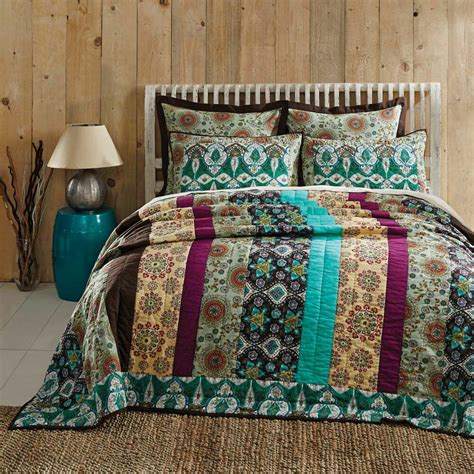 King Quilted Bedspread by 100 Cotton Bohemian King Quilt Multicolor Floral