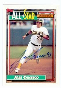 And around the world — politics, weather, entertainment, lifestyle, finance, sports and much more. Jose Canseco autographed baseball card (Oakland Athletics) 1992 Topps #401 All Star