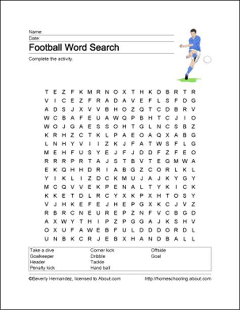 football word search vocabulary work sheet crossword