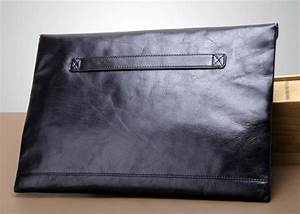 Black leather clutch purse, leather envelope wallet - YEARSBAG
