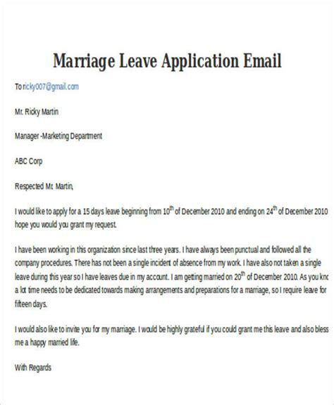4+ Leave Application Email Examples & Samples  Pdf, Doc