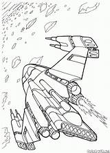 Coloring Space Ship Pages Battle Wars Colorkid Futuristic sketch template