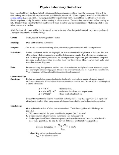 how to write a physics lab report exle