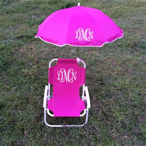 monogrammed chair with umbrella