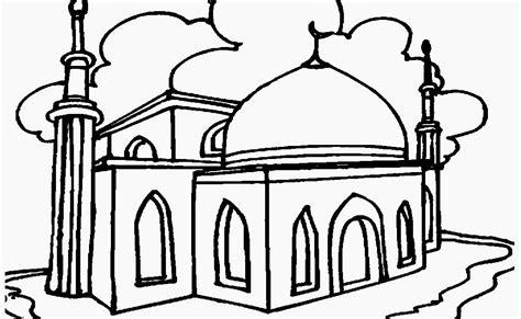 Contoh Gambar Masjid Untuk Lomba Mewarnai