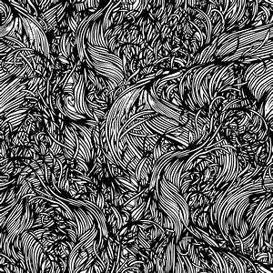 Vector Seamless Black And White Abstract Hand