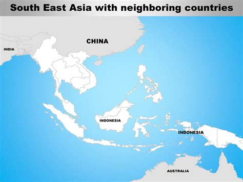 south east asia editable continent map  countries