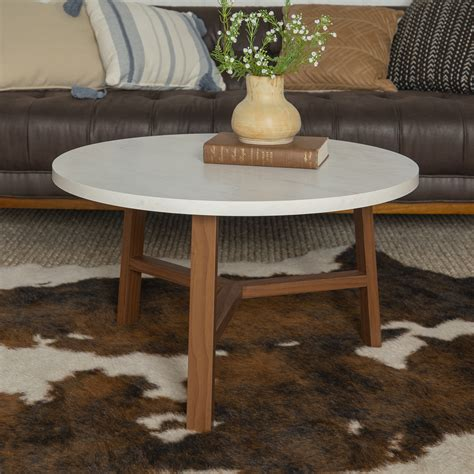 Get the best deals on round contemporary coffee tables. Manor Park Mid-Century Modern Round Coffee Table - White Marble and Acorn - Walmart.com ...