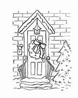 Coloring Wreath Christmas Door Hung Pages Printable Joy Bring sketch template