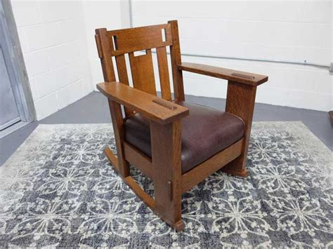 Stickley Upholstered Rocking Chair by Antiques By Design Stickley Brandt Modern Craft Mission