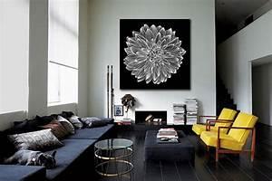 Tableau Salon Design : tableau design dalhia noir et blanc izoa ~ Teatrodelosmanantiales.com Idées de Décoration