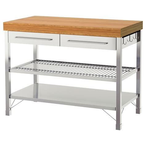 stainless steel kitchen island table rimforsa work bench stainless steel bamboo 120x63 5x92 cm ikea