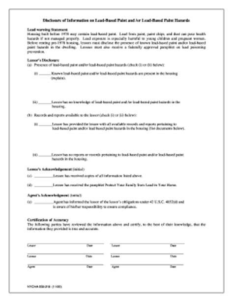 nyc lead paint disclosure form disclosure of information lead based paint fill online