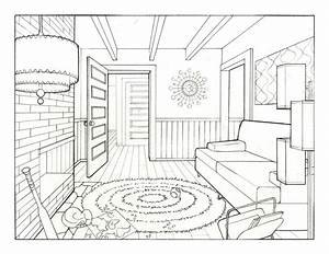 One Point Perspective Drawing Room Living room drawing ...