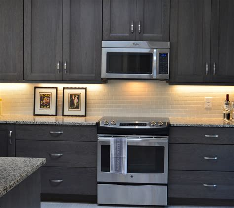 grey stained hickory cabinets grey kitchen https www