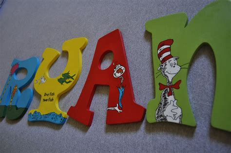 painted wooden letters dr seuss painted wooden letters for nursery or play room