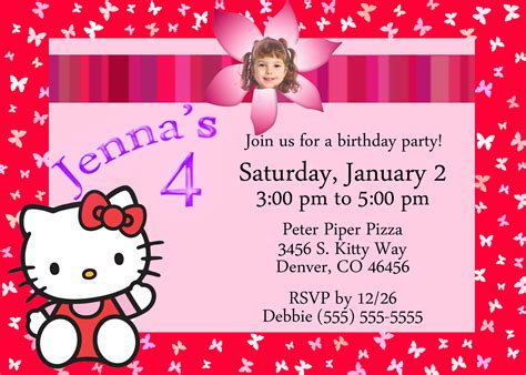 a birthday invitation hello kitty birthday invitation kustom kreations