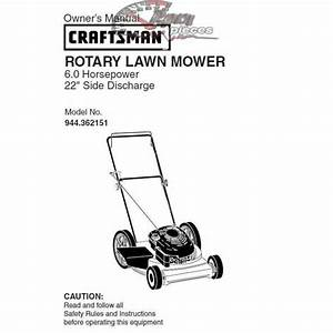 Craftsman Lawn Mower Parts Manual 944 362151
