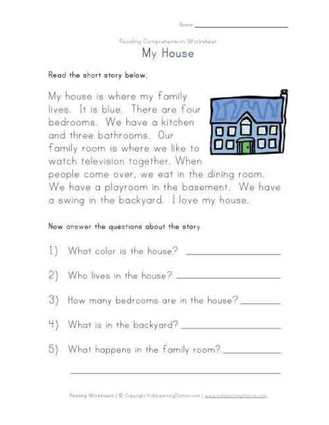 reading comprehension worksheet  house  images
