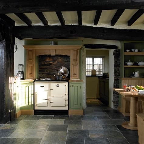 slate kitchen flooring step   period country
