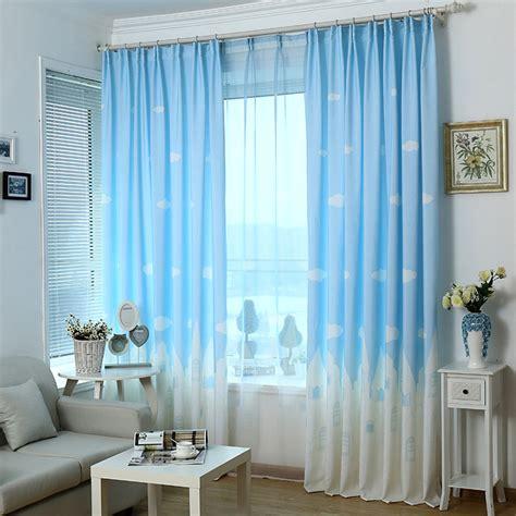 cartoon kids bedroom clouds blue  window curtains