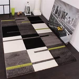 Teppich Grün Weiß : designer teppich mit konturenschnitt karo muster gr n grau schwarz wohn und schlafbereich ~ Indierocktalk.com Haus und Dekorationen