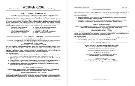 restaurant manager resume sle monster com