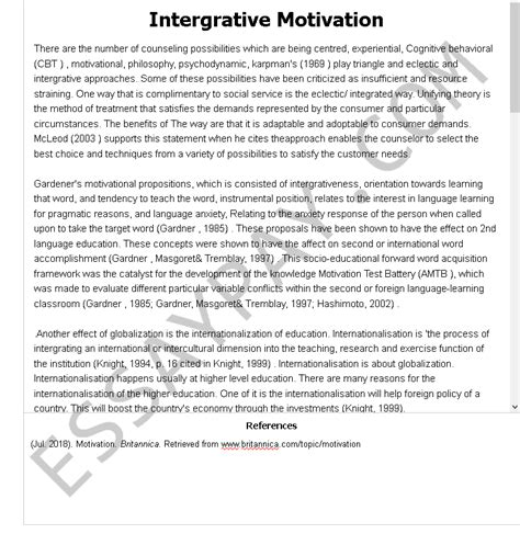 Provide a frame & formatting style guidelines. Intergrative Motivation Essay Example for Free - 1144 Words | EssayPay