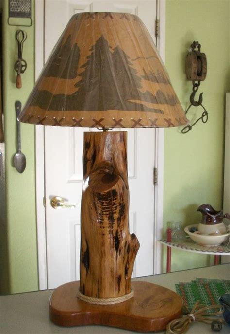Hand Crafted Cedar Wood Lamp in Rustic Design NatureWhispers