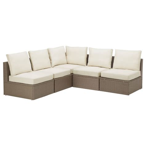 sectional couches ikea arholma corner sofa 3 2 outdoor brown beige 206 206x76x66