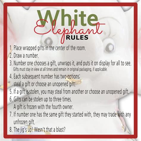 White Elephant Gift Exchange Rules And Printables White