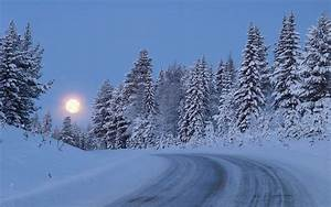 Snowy Forest Road Moon Night wallpapers | Snowy Forest ...
