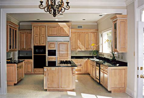 variety of materials selected maple cabinets with black