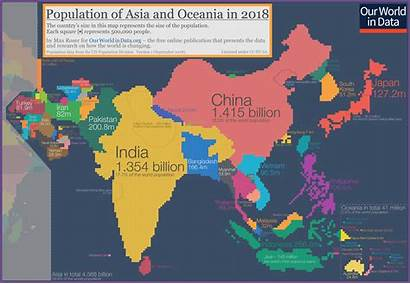Population Asia Map Cartogram Oceania Country Populations