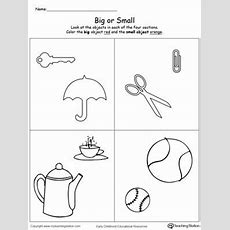 Comparing Objects Sizes Big And Small  Sorting & Categorizing Worksheets  Printable Preschool