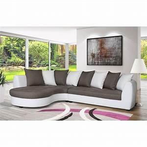 Canapé Tissu Gris : canap d 39 angle gauche en pu blanc tissu gris souris maison et styles ~ Teatrodelosmanantiales.com Idées de Décoration