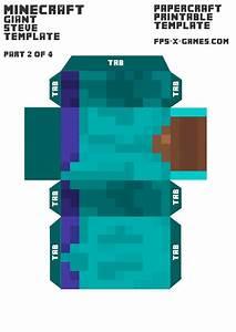 minecraft giant steve body template 2 4 paper model With minecraft steve paper template