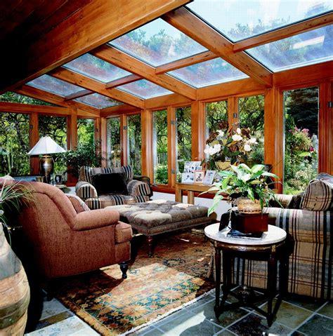 straight glass roof sun room  solarium  wood interior