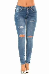 Jean Bleu Troué Femme : pantalon jeans slim bleu trou aux genoux avec effet destroy ptl s2329 ~ Melissatoandfro.com Idées de Décoration