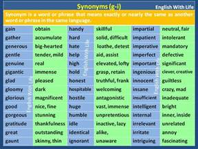 detailed synonym word list materials for learning english